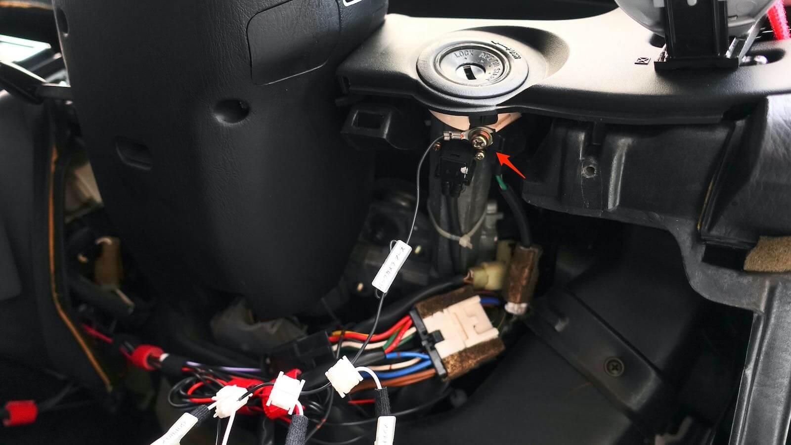 Ground wire connection under MR2 key cylinder