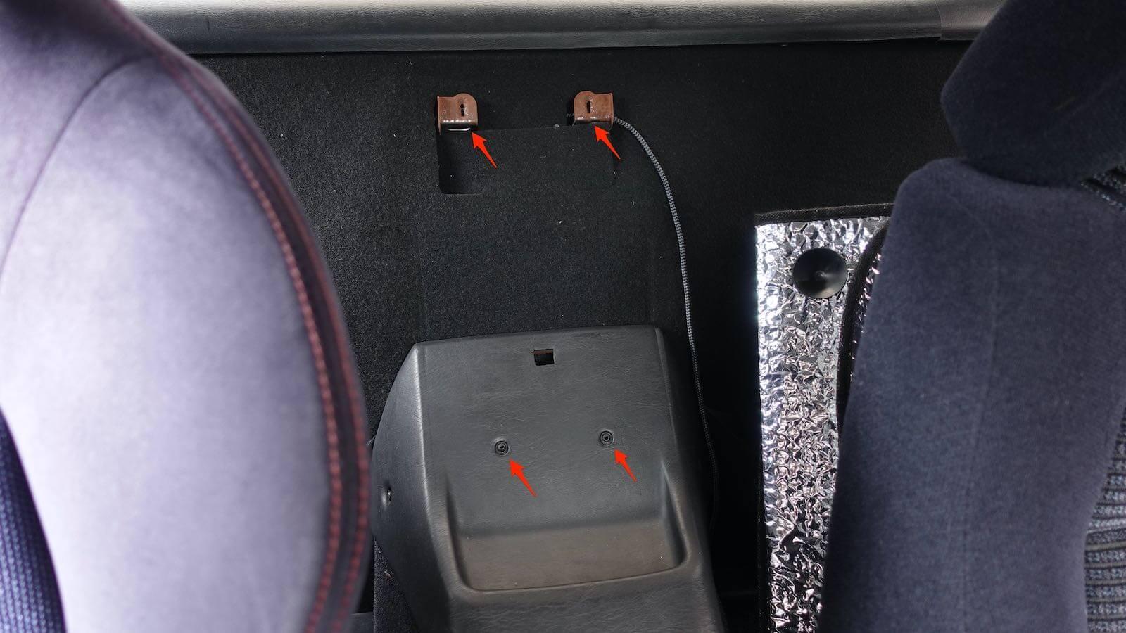 MR2 center console box screw position
