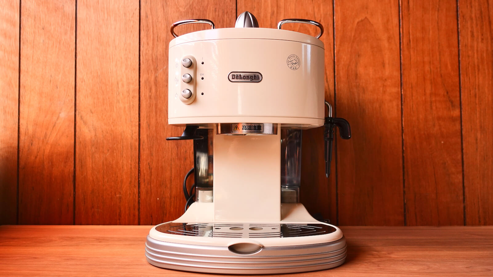 Front view of Delonghi espresso machine ECM300J