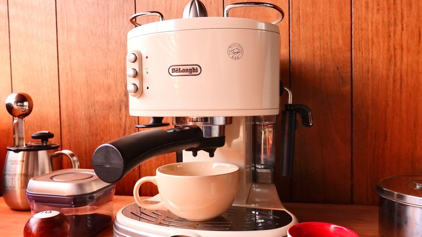 Delonghi espresso machine ECM300J Photo with a water bath saucer set