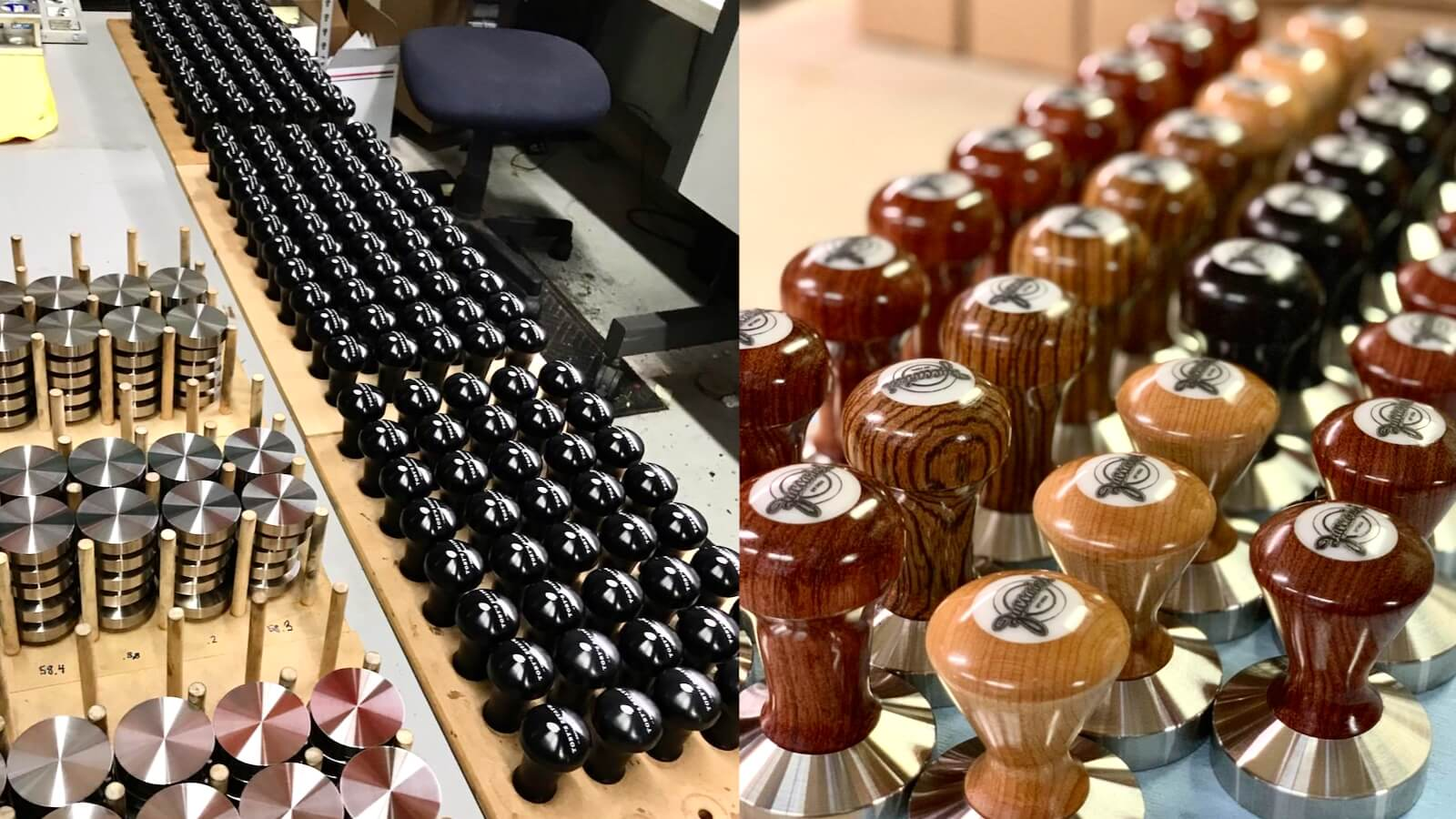 Tampers lined up at the Reg Barber factory