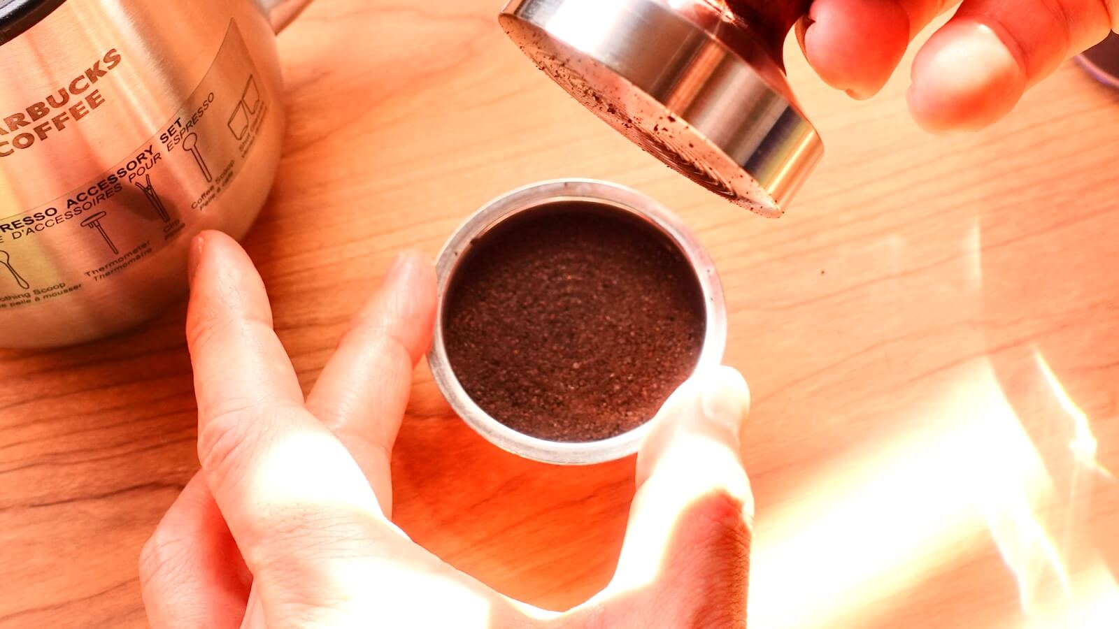 Photo after tamping coffee powder spread in a filter basket
