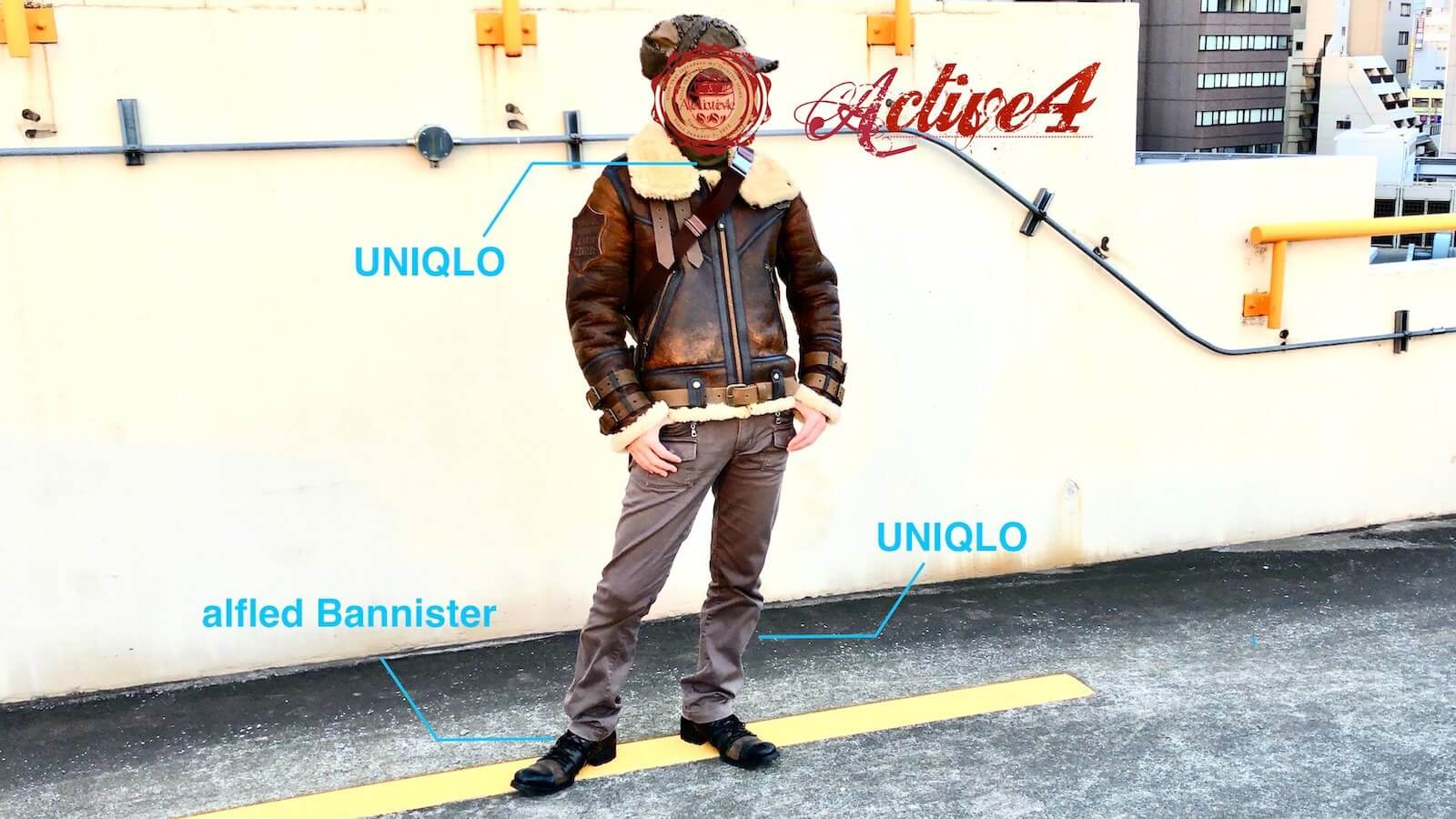 Coordinated with AVIREX BELTED MOUTON B3 and UNIQLO cargo pants
