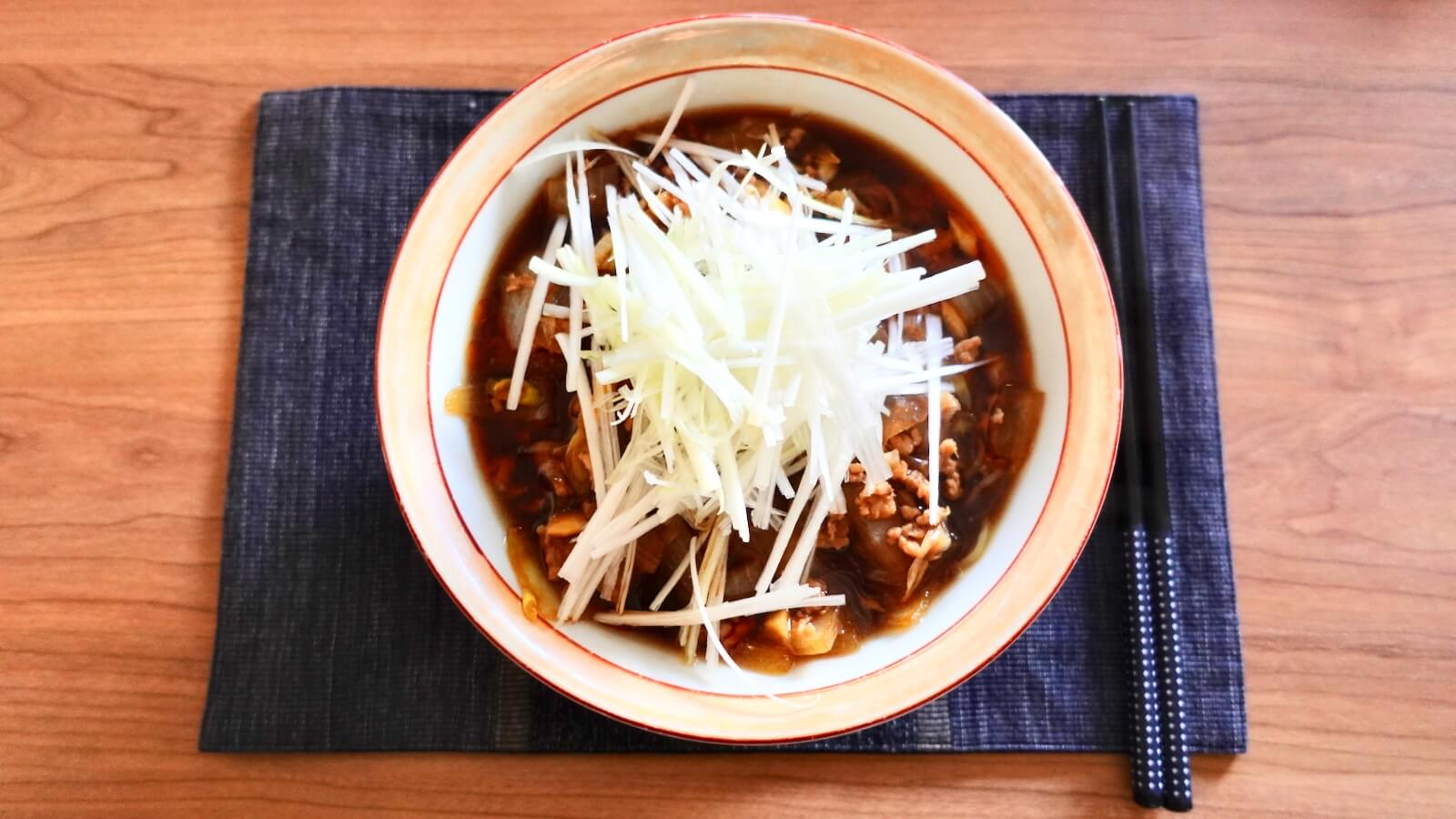A photo of the Ezawa Katsuura Tantan noodles made from above