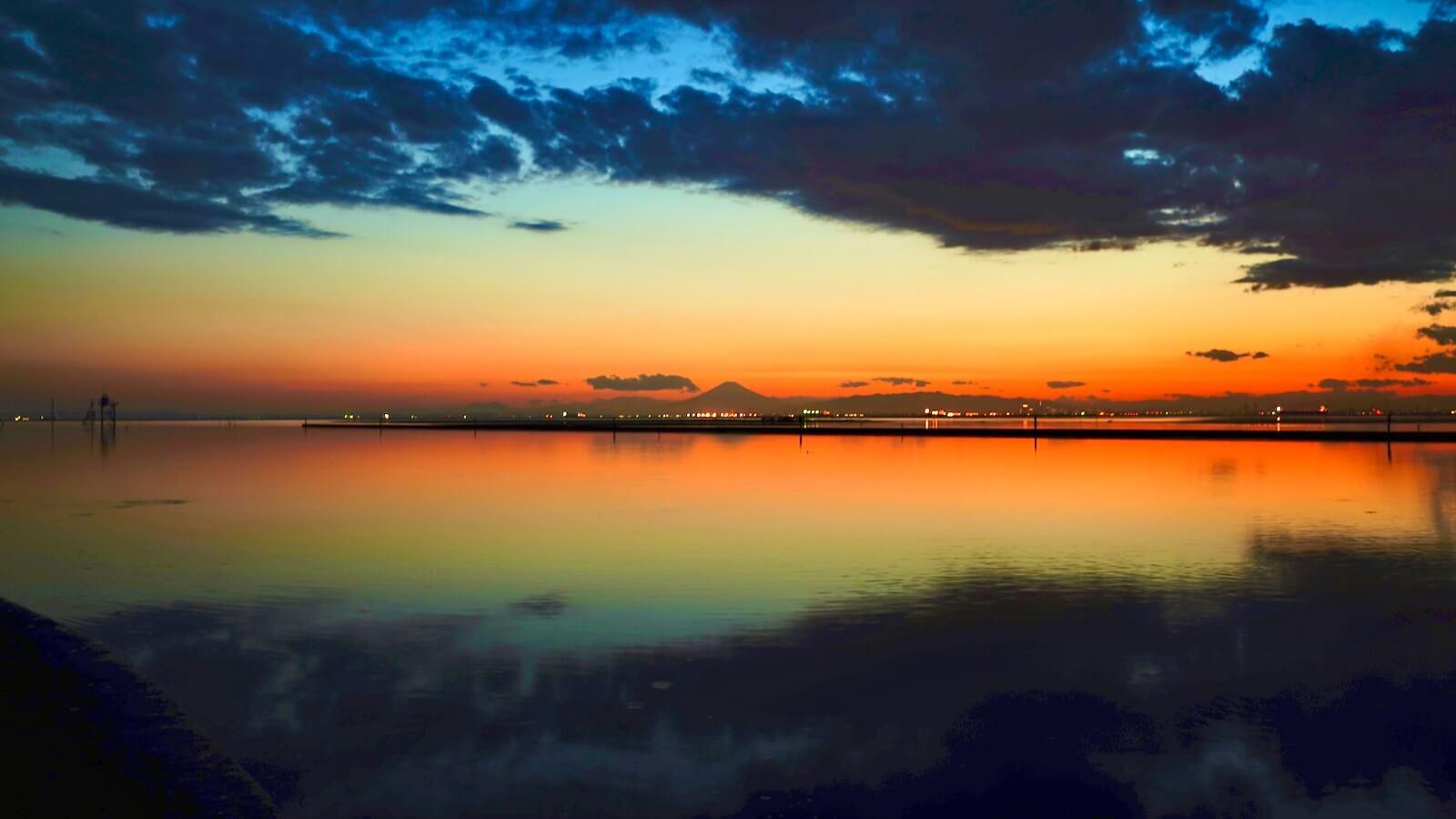 Mt. Fuji at dusk seen from the Kuzuma coast
